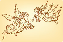 Angels Playing A Trumpet - Vector Illustration
