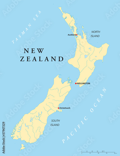 Fotografía New Zealand political map with capital Wellington, national borders, rivers and lakes