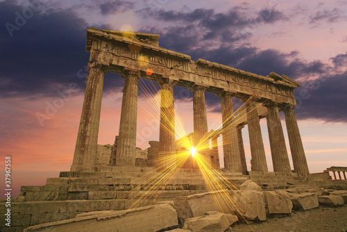 Poster Athens The Parthenon Greek temple at sunset on the acropolis