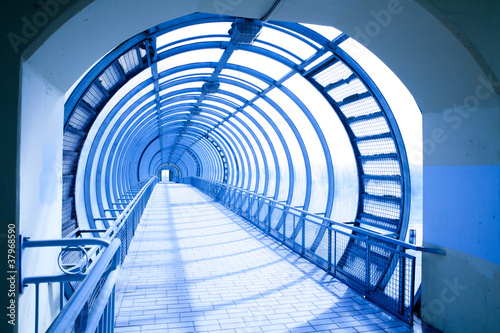 In de dag Tunnel Abstract blue tonnel
