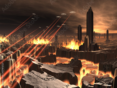 Alien UFO Invasion of Futuristic City Poster