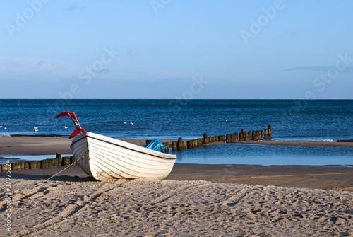 Foto-Schiebegardine Komplettsystem - Strand und Boot