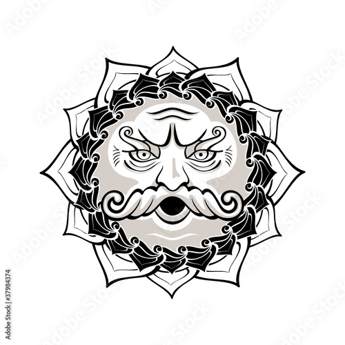 Powerful Wind God Blowing Decorated Contour Symbol Buy This Stock