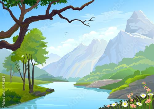 Canvas Prints River, lake RIVER FLOWS THROUGH HILLS AND MOUNTAIN