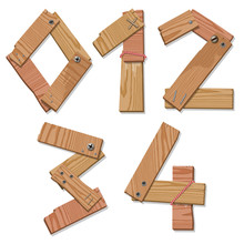 Rustic Wood Font Digits Numbers Letters 0 1 2 3 4