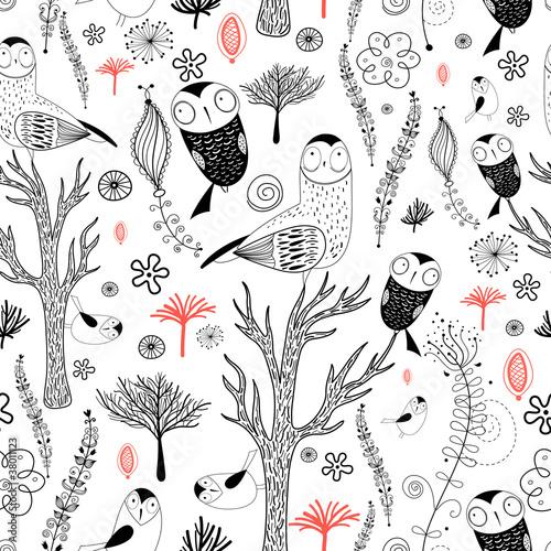 Plakat Leśny wzór z sowami