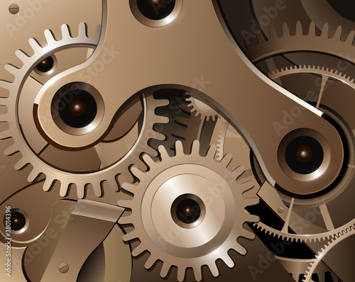 Fototapety, obrazy: Gears and cogwheels from watch mechanism