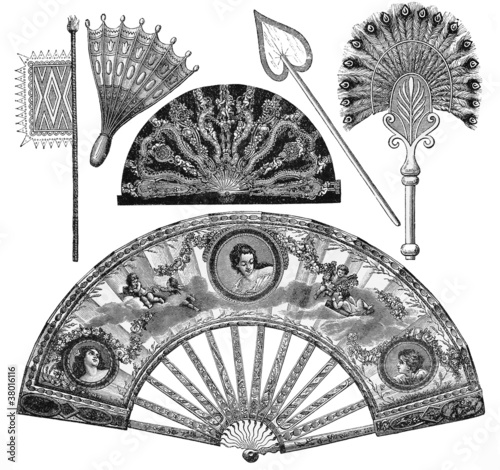 Photographie  Vintage fans types drawing from 19th century