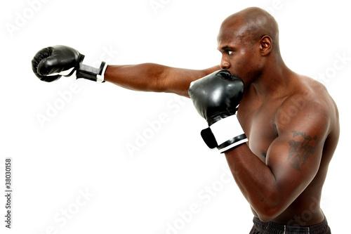 Attractive Black Male Boxer Over White Poster