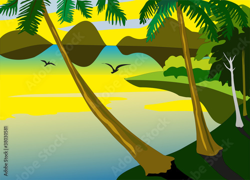 Wall Murals Birds, bees tropic sea