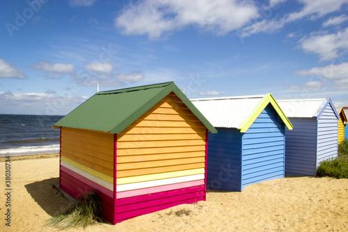 Poster Australie Cabanes de plage colorées - Brighton beach - Melbourne