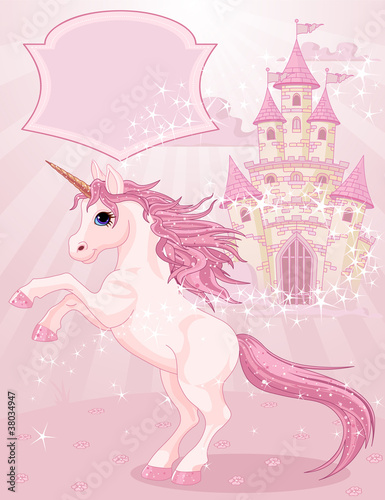 Deurstickers Pony Fairy Tale Castle and Unicorn