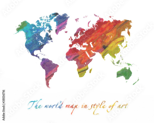 Garden Poster World Map World map multi-colored