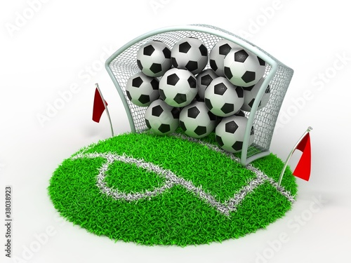 Fototapety, obrazy: 3D Concept Football in Gate on White Background