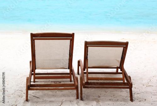 Photo  Beach Chairs on Tropical Beach