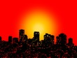 canvas print picture - Grunge New Orleans skyline with abstract sunset illustration