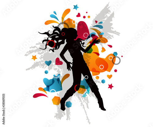 Recess Fitting Floral woman Stylish multicolored background with dancing girl silhouette.