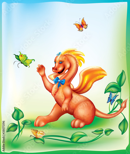 Tuinposter Dinosaurs little dragon
