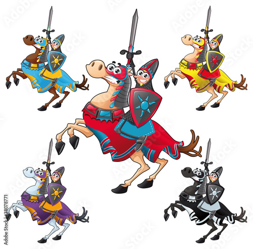 Papiers peints Chevaliers Knight and horse. Cartoon vector isolated characters