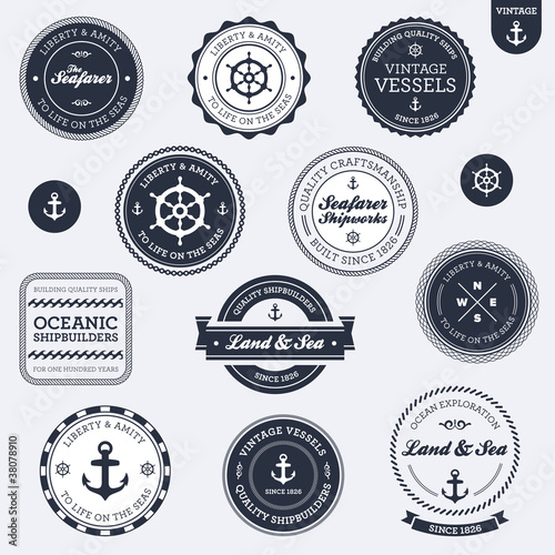 Fotografia  Vintage nautical labels