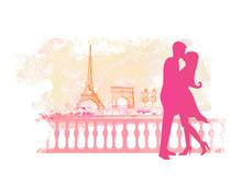 Romantic Couple In Paris Kissi...