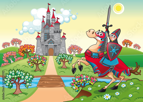 Poster de jardin Chevaliers Panorama with medieval castle and knight. Vector illustration.