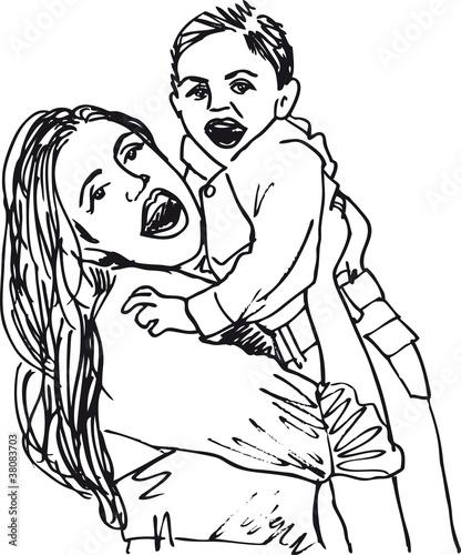 Fotografie, Obraz  Sketch of mom and child, vector illustration