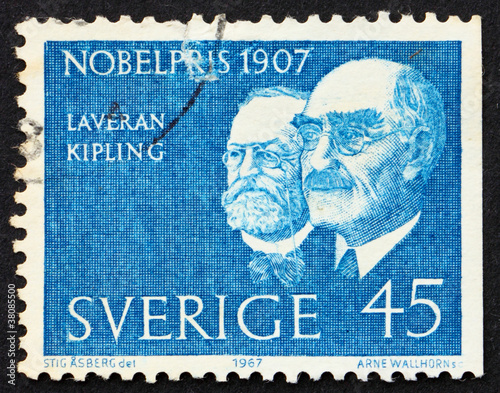 Poster  Postage stamp Sweden 1967 Laveran and Kipling