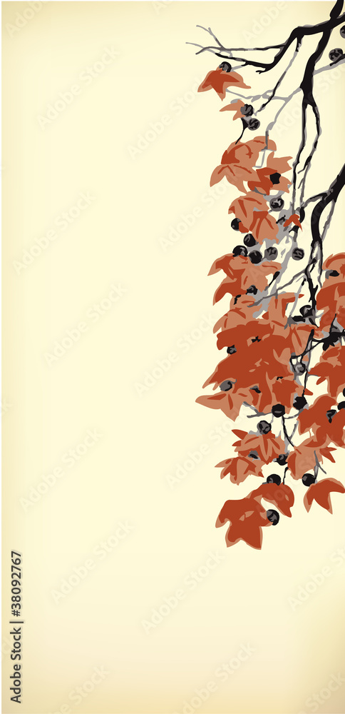 Vector background with hanging branches with red leaves