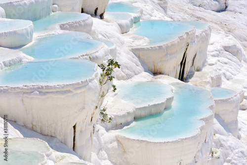 Poster Turkey Travertine pools at ancient Hierapolis, now Pamukkale, Turkey