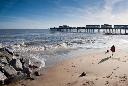 Walking on the beach, Southwold pier Suffolk Fototapeta