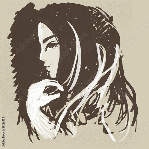 szkic-aquarelle-mlodej-tajemniczej-kobiety