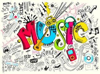 Naklejka Music Doodle