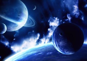 Fototapeta granatowy kosmos - planety