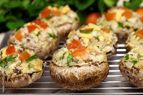 Fototapeta Stuffed Portabella Mushrooms obraz