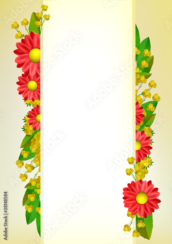 Red And Yellow Flowers Border Design Buy This Stock Vector And
