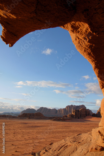 Photo  Through a hole in the rock, Wadi Rum