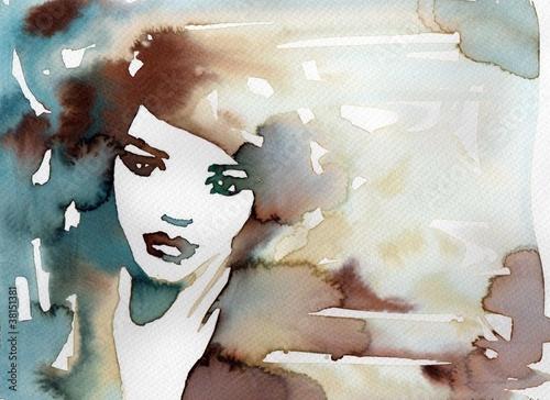kobieta w błękitch