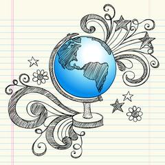 Fototapeta samoprzylepna Planet Earth Globe Geography Class Doodle