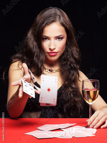 woman gambling on red table Plakat
