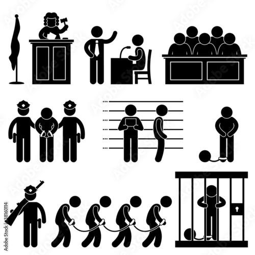 Fotografia, Obraz  Court Judge Law Jail Prison Lawyer Jury Criminal Icon