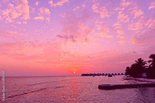Fotobehang Candy roze Maldives sunset