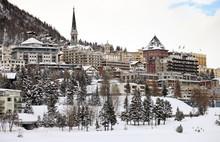 View Of St. Moritz During Winter, Switzerland