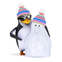 3d Penguin And His New Buddy S...