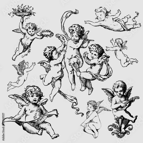 set of various angels or cupids Canvas Print