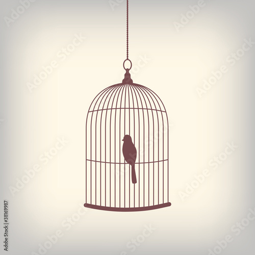 Fotografie, Obraz  Vintage bird cage with single bird inside.