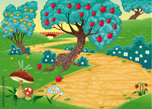 In de dag Magische wereld Wood with fruit trees. Cartoon and vector illustration