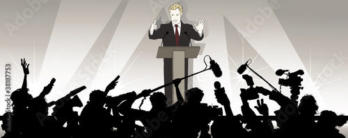 Acrylic Prints Art Studio speaker addresses an audience in a political campaign