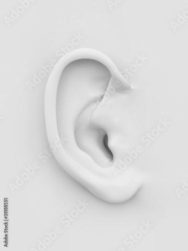 Foto  White soft human ear. 3d