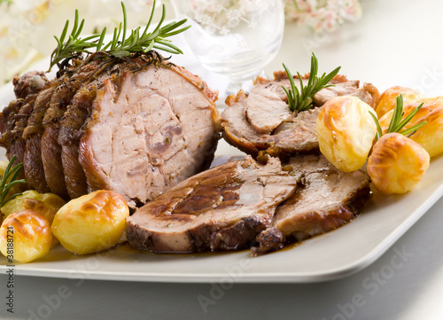 Fotografie, Obraz  roast of veal with potatoes